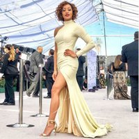 Fashion Yellow Satin Long Sleeve Evening Dresses One Shoulder Mermaid Prom Party Gowns Side Split Formal Gowns Plus Size