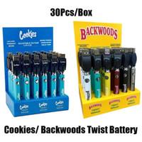 Çerezler Backwoods Büküm VV Pil Önceden Alt Gerilim Ayarlanabilir 900mAh Vape Kalem Kartuşu 510 EGO Pil Ile Ekran Kutusu 30 adet Paketi