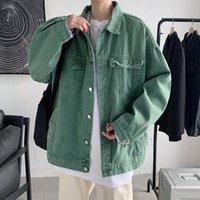 Vestes pour hommes Spring Automne Hommes Denim coréen Solid Hole Streetwear Loisirs Jean Jacket Khaki / Noir / Armée Vert Mode Jeans