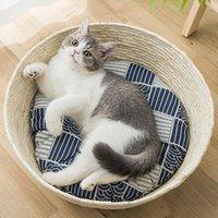 Cat Beds & Furniture Pet Nest Scratching Mat Bed Basket Sleeping Kitten Corn Husk Woven Home Supplies Odorless Eco-Friendly Bowl Shape