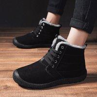 2019 Kış Ayakkabı Erkek Kürk Çizmeler Sıcak Rahat Ayakkabılar Düz Kauçuk Ayak Bileği Çizmeler Erkekler Ayakkabı Kaymaz Kar Botas Zapatos De Mujer 48 A9RU #