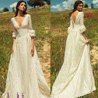 2021 Vintage Romantik Bohemian Dantel Backless Gelinlik V Boyun Yarım Kollu Bahçe Plaj Gelinlikleri Peri Boho Gelin Elbise