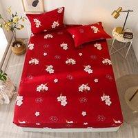 أوراق مجموعات Bonenjoy 3 قطع السرير والحالة اللون الأحمر زهرة المطبوعة ورقة مجهزة مع مرونة drap de lit