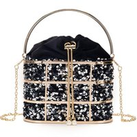 Evening Bags Velvet Metal Cage Clutch Bag For Women 2022 Handbags And Purses Luxury Sequins Chain Bucket Bridal Wedding Party