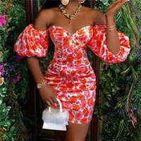 Dress 2021 Shoulder Summer Off Women Floral Pencil Elegant Dresses Sexy Skinny Evening Party Formal Dresses Ruffles Ladies Dress