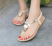 Sandals Women Shoes Summer Genuine Leather Crystal Flat Buckle Open Toe T-Strap Ladies Gold