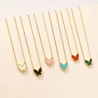 Chains 2021 Brand Gold Color Fashion Jewelry For Women Colorful Butterfly Neckalce Pendant Cute Party