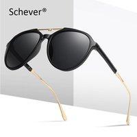 Sonnenbrille Schever Marke 2021 Mode Männer / Frauen Polarisierte Linsen Retro Sonnenbrille Pilot Übergroße Runde Schatten
