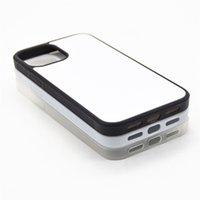TPU + PC em branco 2D sublimação caso transferência de calor telefone casos com inserções de alumínio para iPhone 13 12 11 xs xr 7 8 mais 13promax s20 fe