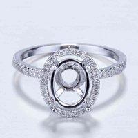 10K White Gold Diamond Engagement Wedding Semi Mount Ring 7x9mm Ovale Prong Set