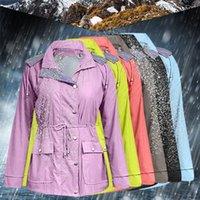 Women's Jackets FASHION Women Jacket Solid Rain Outdoor Plus Waterproof Hooded Raincoat Windproof Zipper Coat Female Clothing