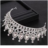 Rhinestone Crystal Crown Crown Color Color Tiara Wedding Crown Fascia Bridal Capelli Accessori Party Princess Corvo Qylzkb