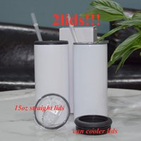 Sublimation Can Cooler 15oz straight tumbler with 2 ldis Insulator Stainless Steel Tumblers Vacuum Insulated Bottle Cold Insulation cup