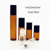 100pcs lot Amber 3ml 5ML 10ML Roll On Perfume Bottles Clear Glass Essential Oil Roller Bottle with Glass Metal Ball