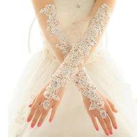 Bridal Gloves Opera Length Long Wedding Dress Crystals Diamond Gauze Embroidery Elegant Womens Lace Wholesale Price