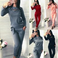 Women 2 Piece Set Solid Color Fashion Spring Autumn Long Sleeve O-Neck Tops Pants Bandage Ladies Girls Casual Sportswear Women's Trac