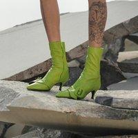 Boots Bota feminina de couro preto com zíper ponta fina, calçado sexy salto alto stiletto para mulheres, novo outono SY7N