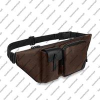 M45337 كريستوفر الرجال بومباج الكلاسيكية قماش مصمم حزام حقيبة عبر الجسم genunie جلد البقر جلد الرجال حقائب الكتف حقيبة الخصر حقيبة محفظة