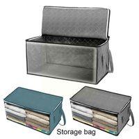 Storage Bags Non-Woven Fabric Large Capacity Foldable Duvet Cover Bag Clothing Durable Sheet Zipper Blanket Dustproof Stora Q5E0