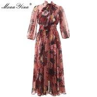 Moaayina Diseñador de moda Vestido de pista Spring Verano Mujer vestido Rosa Cuello Bow Cuello Rose Floral-Imprimir Elegantes Vestidos de gasa 210309