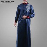 Ropa étnica Incerun Muslim Muslim Islámico Hombres Manga Larga Soporte Collar Impreso Robas Caftan 2021 Vintage Abaya Dubai Árabe Jubba Thuebe