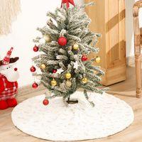 2021 Bronzing Feather Style Christmas Tree Skirt Decoration Supplies Imitation Rabbit Fur Bottom Apron Dress Up