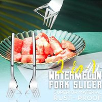 Forks 2-in-1 Watermelon Fork Slicer Melon Cutting Machine Tool Steel Cutter Fruit Household Kitchen Gadgets Accessories