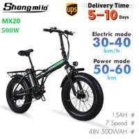 EU MX20 Folding Electric 500W Mountainbike 15ah 20 Zoll Fettreifen Fahrrad Stadt Moped Beach Cruiser Shengmilo E-Bike