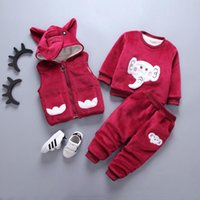 Clothing Sets Baby Boy Girl Velvet Warm Clothes Cartoon Printing Plus Thick Coat Hooded Set Toddler Costume 3 Piece