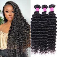 Human Hair Bulks 30 Inches Deep Wave Bundles Weaving Extension 8-30 Double Weft Long Curly Braizilan