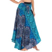 Skirts Long Skirt Women Hippie Bohemian Boho Style Flowers Elastic Waist Summer Beach Floral Halter Faldas