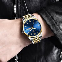 Luxus Mann Quarz Herren Uhren Analog Datum Week Sport Casual Armbanduhr Full Steel Wasserdichte Uhr Männer Uhr