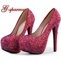 Zapatos de vestir brillando AB Crystal Red Boda Tacones Altos Rhinestone Fashion Novia Matric Graduado Ceremonia de despedida