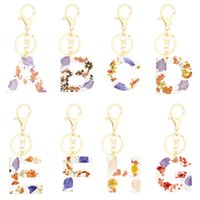 Cute English Letter Pendant Key Chains Ring Resin Dried Flower Keychains Alphabet Acrylic Glitter Keyring Holder Charm Bag Gifts