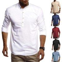 Tops tees printemps mâle neuf couleur solide perle t-shirt mens monte colle tshirt vêtements mode tendance à manches longues boutonnage couché