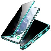 Magnetic Adsorption Shockproof Metal bumper case Anti Spy Privacy Tempered Glass Screen Protector For Samsung s21 Ultra S21 Plus S20 Note 20