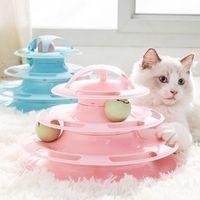 4 레벨 고양이 장난감 창의력 우주 타워 터널 트랙 정보 공 교육 대화 형 놀이 플레이트 애완 동물 제품