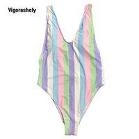 Vigorashely مخطط ملابس النساء مثير قطعة واحدة ملابس السباحة الإناث deep v monokini ارتداءها عارية الذراعين المايوه السباحة ارتداء 210316