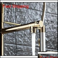 Faucets Faucets, Showers As Home & Gardenluxury Gold Color Faucet Two Swivel Spouts Extensible Spring Mixer Tap Pl Out Down Kitchen Sin Qylq