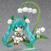 12cm jogo vocaloid 493 # Hatsune neve miku pvc anime ação figura lótus folha neve sino ver modelo colecionável kawaii brinquedos boneca t200304