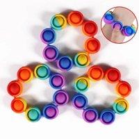 Empurrar pulseira de fidificação entregar tensão brinquedos festa festa arco-íris empurrar bolha brinquedo anti stress para adultos crianças sensorial para aliviar o autismo silicone pulseira FY2759