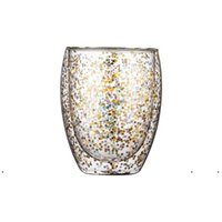 جديد النبيذ الزجاج زجاجة المياه النجوم سماء النجوم القدح مزدوجة الجدار الزجاج كؤوس مقاومة للحرارة الويسكي tumblers هدية عيد المطبخ الرئيسية drineware EWD7