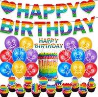 3d Fidget itme Pops Poppet Kabarcık Oyuncaklar Baskı Kağıt Bayrak Dize 12 inç Balonlar Büyük Doğum Günü Pastası Kart 44 adet Set Çocuklar Çocuk Mutlu Doğum Günü Partisi Süsler G90QB7X