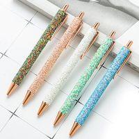 Ballpoint Pens Fashion PU Sequin Advertising Gift Pen Press Metal School Supplies Office Stationery Wholesale Custom Logo