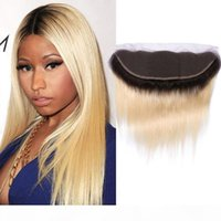 Перуанские человеческие волосы 13x4 кружева Frontal 1b 613 # прямые кружевные фронтальные с детскими волосами Precucked 1b 613 двойной цвет 13 * 4 frontal