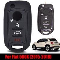 4 Button Silicone Fiat 500x Toro Keyless FOB 쉘 스킨 홀더 키링 플립 키 체인 보호기