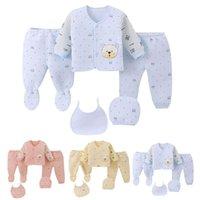Clothing Sets 5PCS Born Infant Baby Boys Girls Cartoon Tops+Hat+Pants +Bib Outfits Sleepwear Set Casual Clothes Kids