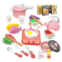 32PCS Kids Cooking Toy Set Baby Miniature Kitchen Plastic Pretend Play Food Children Toys With Music Light For Kid Game