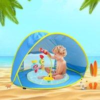 الخيام والملاجئ الطفل شاطئ خيمة الأطفال للماء حتى الشمس المظلة uv- حماية الشمس مع 4PCS بويص التخييم في الهواء الطلق
