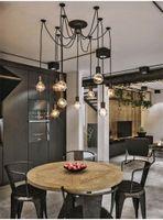 검은 빈티지 거미 펜던트 램프 샹들리에 길이 조정 가능한 레트로 램프 헤드 클래식 천장 램프 고정 조명 706 K2